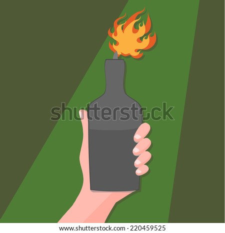 hand with a molotov cocktail - symbol of protest  - stock vector