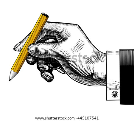 Hand with a pencil. Vintage engraving stylized drawing. Vector illustration - stock vector