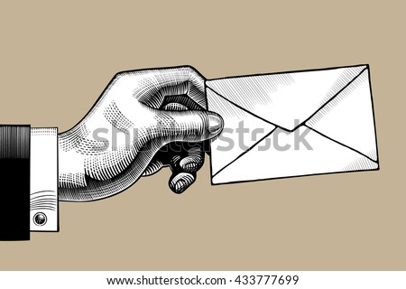 Hand with a Postal envelope. Hand with a mail. Retro style mail sign and icon. Vintage engraving stylized drawing. Vector illustration - stock vector