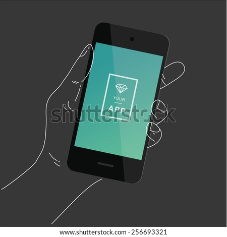 Hand with a smartphone for app design presentation - stock vector
