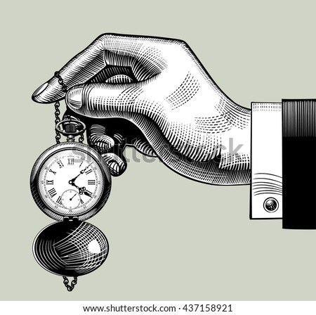 Hand with an old clock. Retro pocket watch. Vintage engraving stylized drawing. Vector Illustration - stock vector