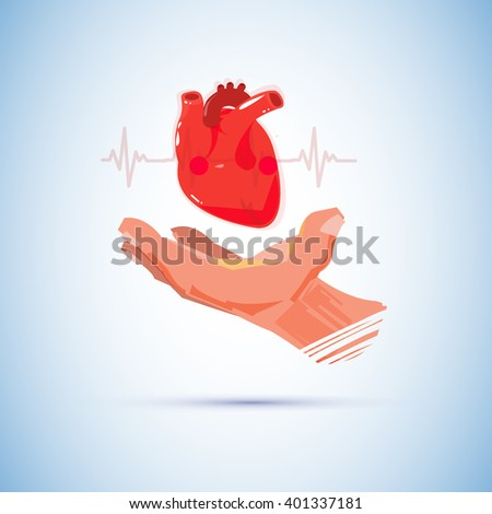 hand with big human heart. heart day concept - vector illustration