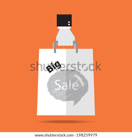 Hand with big sale shopping paper bag.  Flat design.Vector EPS 10. - stock vector
