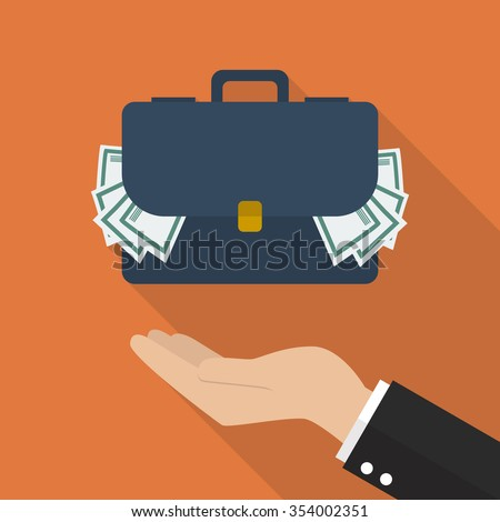 Hand with briefcase full of money. Flat style design with long shadow - stock vector