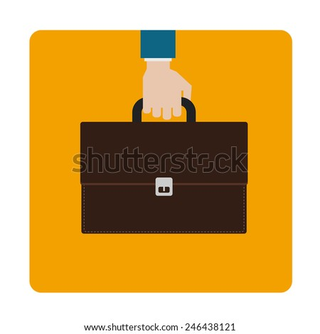 hand with briefcase icon design - stock vector