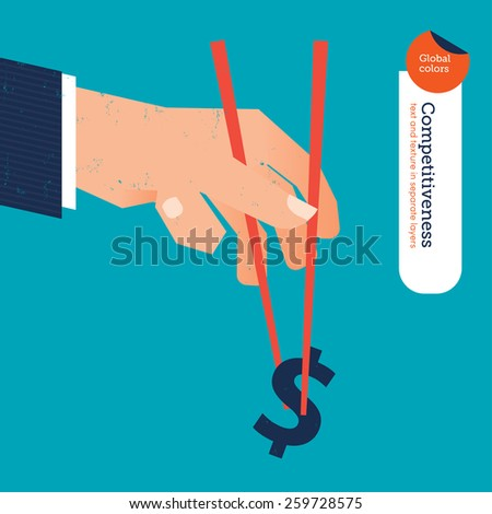 Hand with chopstick picking a dollar sign. Eps10 file. Global colors. Text and Texture in separate layers. - stock vector