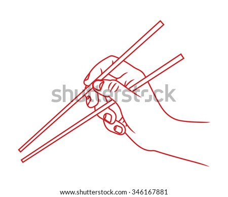 Hand with chopsticks vector illustration