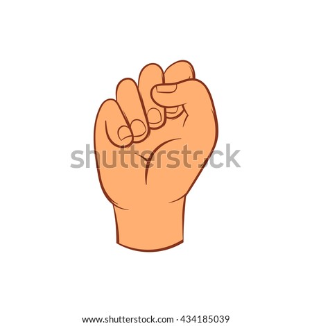 Hand with clenched fist icon, cartoon style - stock vector