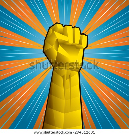 Hand with clenched fist vector illustration in 3D style.  - stock vector