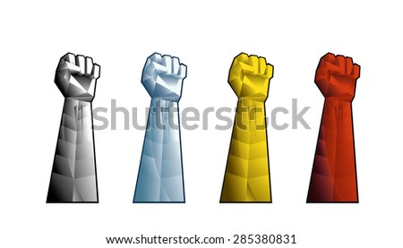 Hand with clenched fist vector illustration in 3D style.  Presented in four colors: red, yellow, blue and grey. - stock vector
