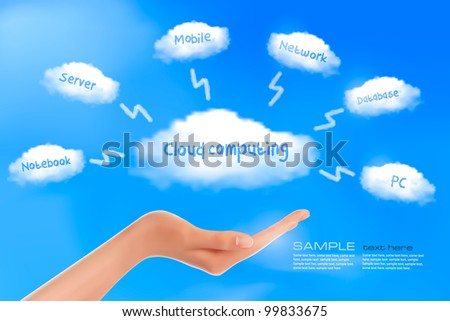 Hand with cloud computing diagram. Cloud computing concept. Vector - stock vector