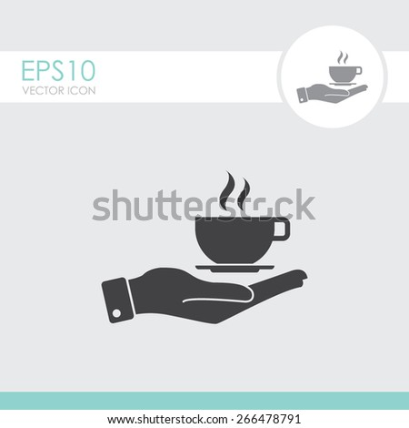 Hand with coffee cup vector icon. - stock vector