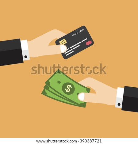 Hand with credit card and money vector - stock vector