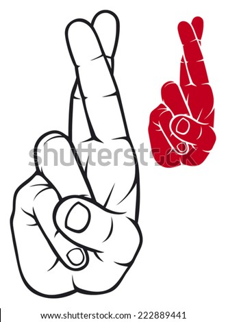 hand with crossed fingers (fingers crossed) - stock vector