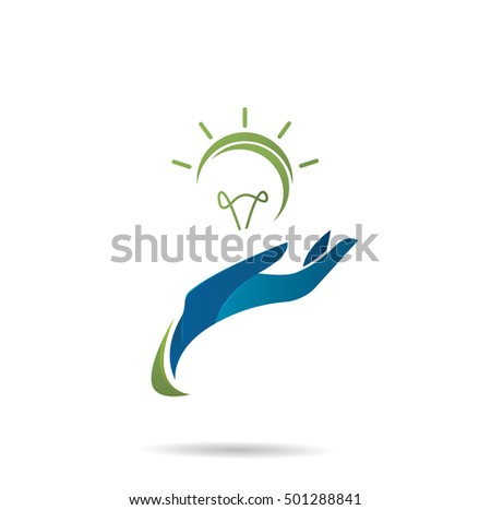Hand with eco bulb. Vector illustration. Isolated on white background
