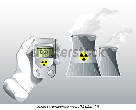 Hand with Geiger counter near nuclear power station - stock vector