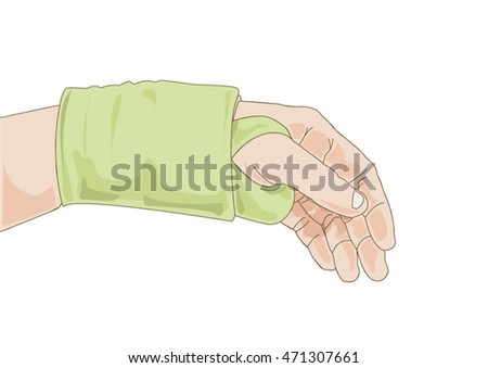 hand with green bandage having pain in her wrist isolated on white background, vector eps10