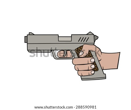 Hand with gun - stock vector