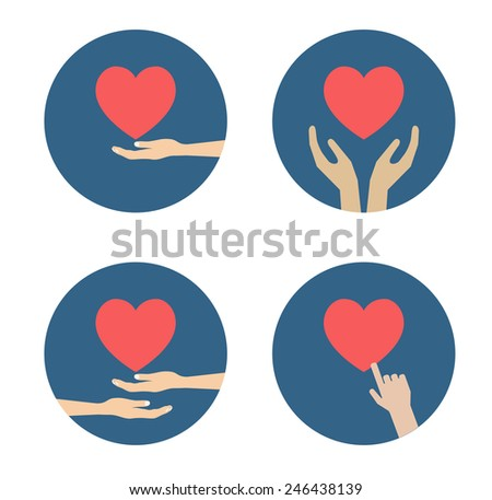 hand with heart flat icon design - stock vector