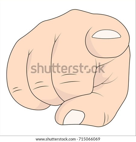 Hand with index finger pointing at the viewer. Vector pointing finger or hand forefinger, sign know your role place   icon