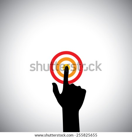 hand with index finger touching a target or pressing a button - vector icon. This also represents concepts like ambition, starting a process, beginning a task - stock vector