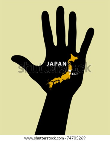 Hand with Japan Map With Seismic Epicenter. Help Japan - stock vector