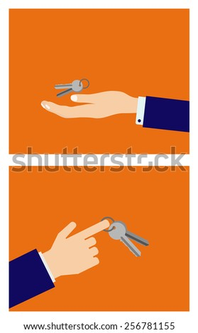 hand with keys icon design - stock vector