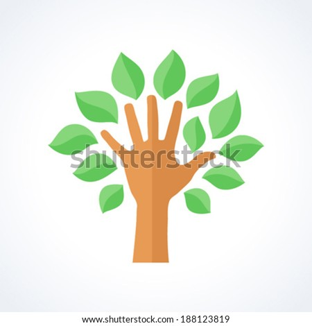 Hand with leaves forming a tree