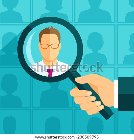 Hand with magnifying glass focused on a person - stock vector