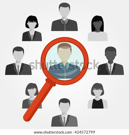 Hand with magnifying glass search employee for recruitment agency.