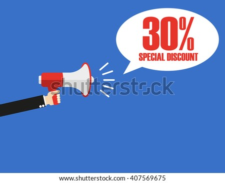 Hand with megaphone 30% - stock vector