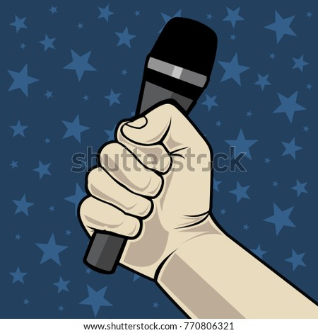 Hand with microphone. On a blue background with stars. Vector illustration.