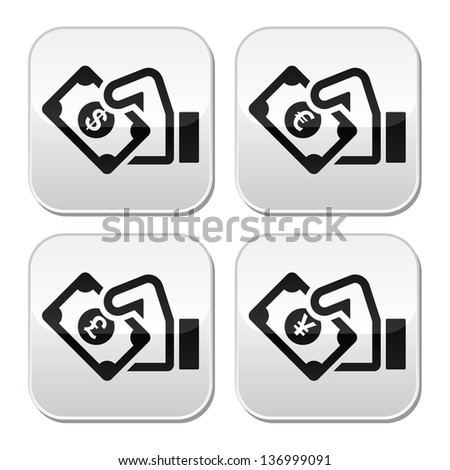 Hand with money buttons set - dollar, euro, yen, pound - stock vector