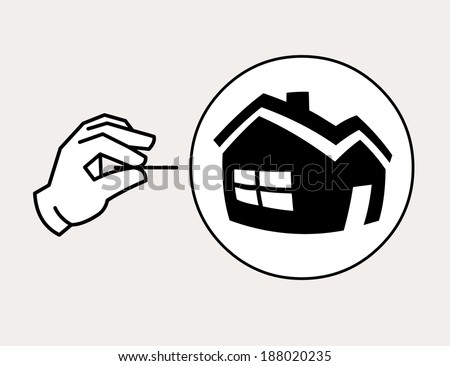 Hand with needle ready to pop the property bubble. Housing bubble concept icon - stock vector