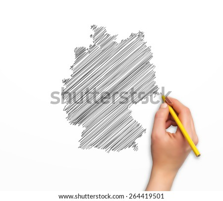 hand with pencil drawing the germany map in vector format - stock vector