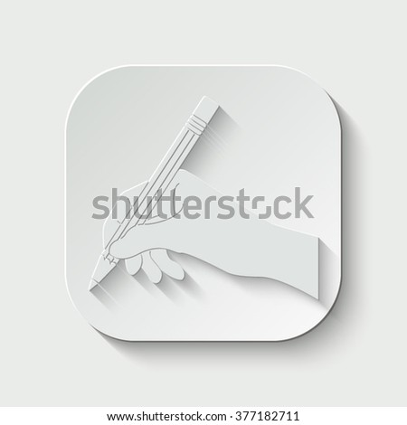 hand with pencil vector icon - paper illustration - stock vector