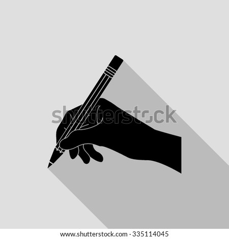 hand with pencil vector icon with long shadow - stock vector