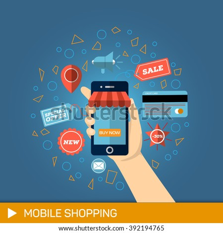 Hand with phone buy. Mobile payments. Mobile Shopping concept. Online Mobile Shopping. Mobile Shopping button. Hand holding Mobile with Shopping button. Mobile Shopping. Mobile Shopping technologies - stock vector