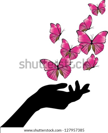 Hand with pink butterflies flying - stock vector