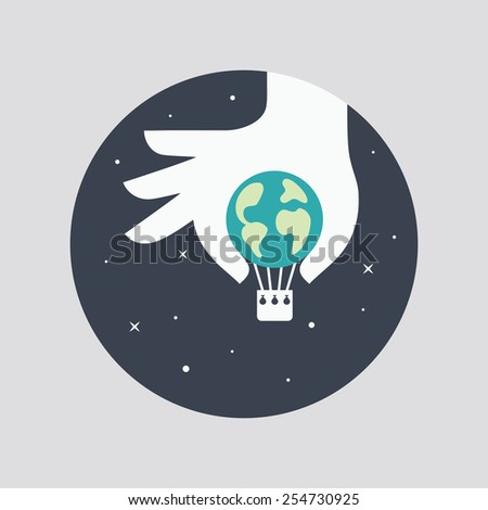 Hand with planet Earth. Creative concept. - stock vector