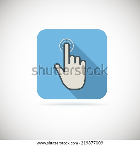 Hand with pressed finger in flat style, touch icon. - stock vector
