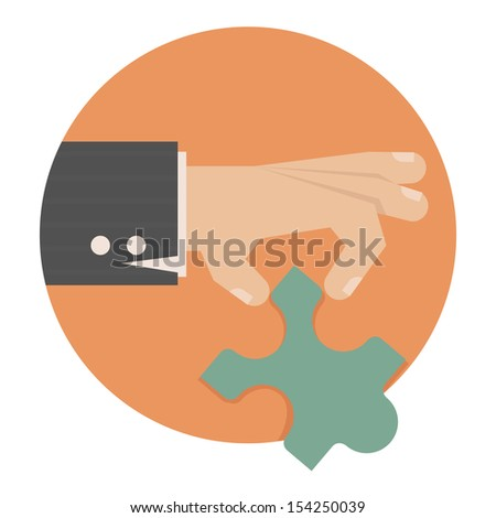 Hand with puzzle , eps10 vector format - stock vector
