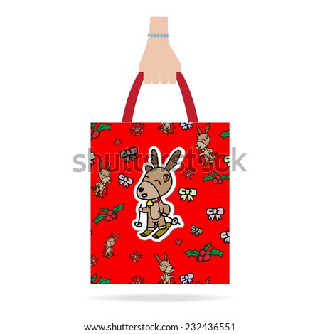 Hand with red Christmas shopping bag.  Flat design.Vector EPS 10 - stock vector