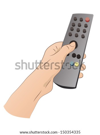 Hand with remote control - stock vector