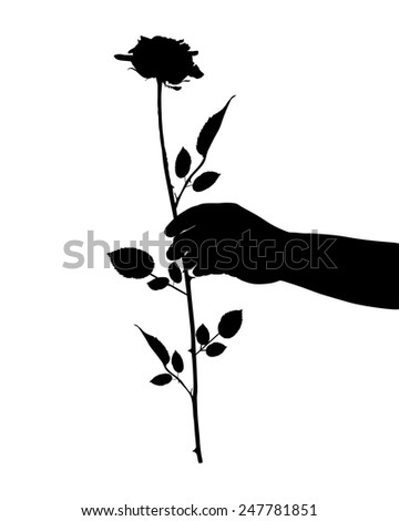 Hand with rose - stock vector