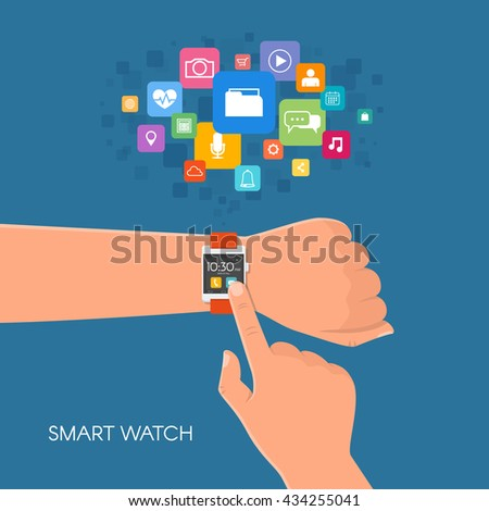 Hand with smart watch. Vector illustration in flat style. Design elements and app icons. - stock vector