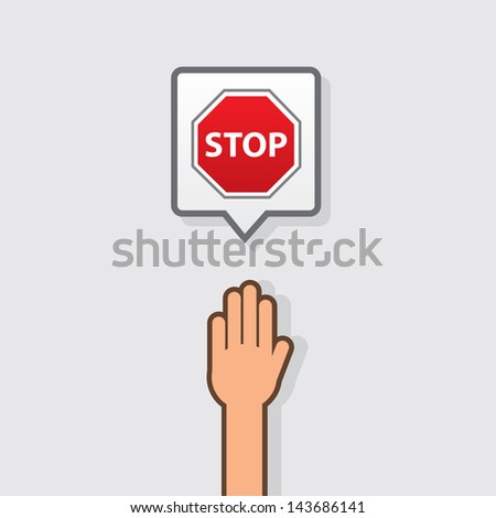 Hand with stop sign icon  - stock vector