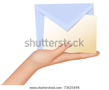 Hand with the envelope and paper against the white background. Vector.