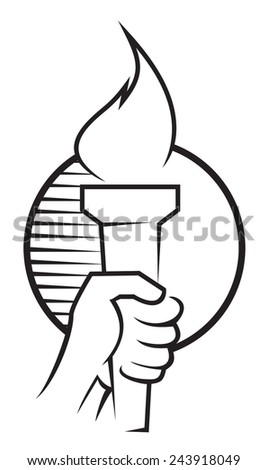 hand with the torch - stock vector