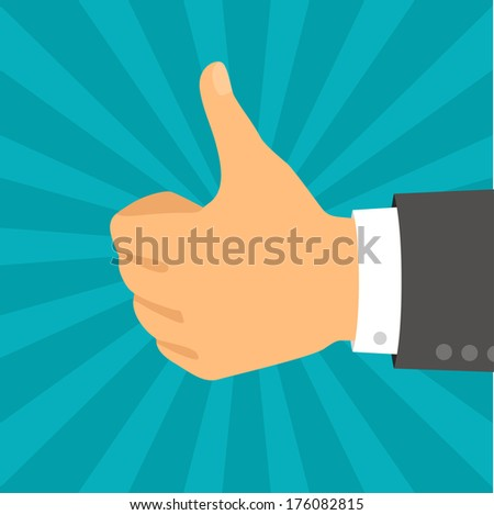 Hand with thumb in flat design style. - stock vector